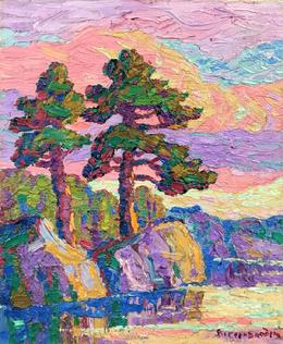 "NEW!!! Birger Sandzen ""Sunset, Rocky Mountain National Park, Colorado, 1928, 12 x 10 inches, oil on board."