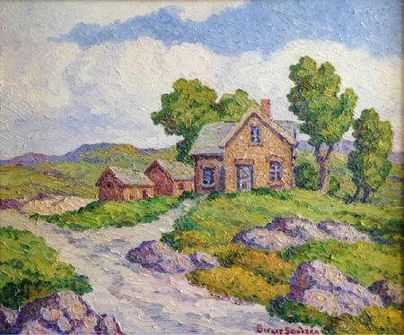 "Birger Sandzen ""Once a Home"" 20 x 24 inches, oil on board, excellent condition! New Acquisition! AVAILABLE"