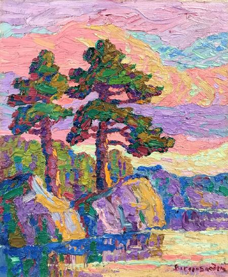 "Birger Sandzen ""Sunset, Rocky Mountain National Park, Colorado, 1928"" 12 x 10 inches, oil on board. AVAILABLE"